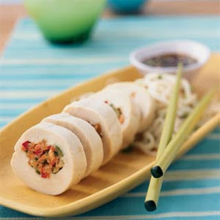 Julienne Vegetable-Stuffed Chicken with Ginger-Hoisin Sauce
