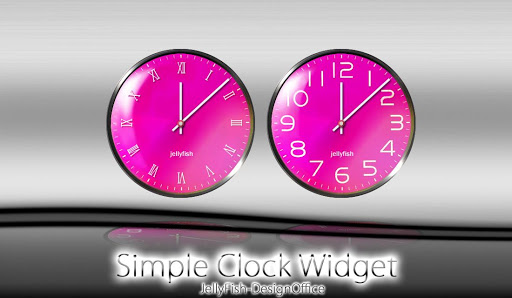 シンプルなアナログ時計ウィジェット【ピンク】