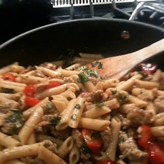 Penne with Turkey Sausage, Cherry Tomatoes and Basil.