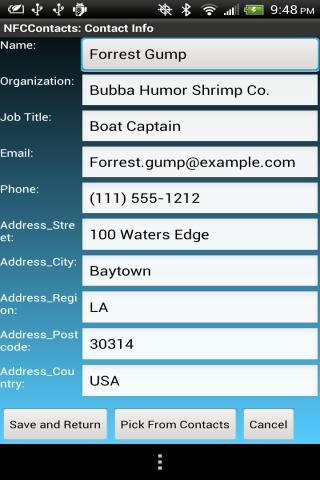 NFC Contacts- screenshot