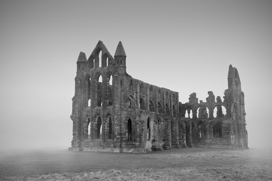 Whitby Abbey by Stevie Jay - Buildings & Architecture Decaying & Abandoned ( building, dull, black and white, fog, whitby, abbey,  )