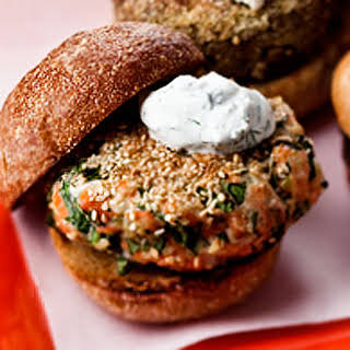 Sesame Seed-Crusted Salmon Burger With Yogurt Sauce.