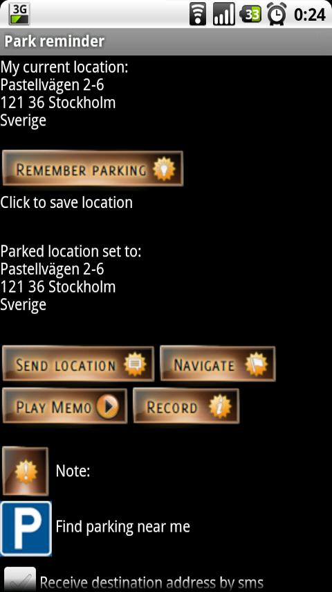 Park Reminder - screenshot