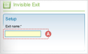 "Picture of a portion of the Flash component inspector. This is the Setup section for the DoubleClick Flash Invisible Exit component with the ""Exit name"" text field highlighted and labeled A."