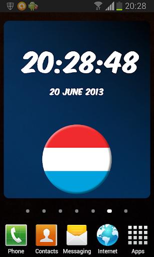 Luxembourg Digital Clock