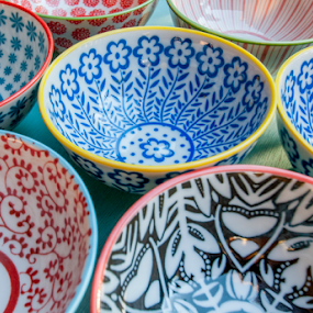Colorful Bowls by Dave Clark - Artistic Objects Cups, Plates & Utensils ( color, food, background, pottery, cooking, utensils, bowls )