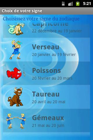 Horoscope français - screenshot
