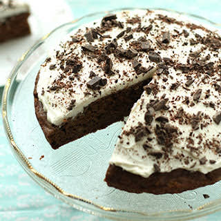 Cocoa Banana Cake with Chocolate Chip Frosting.