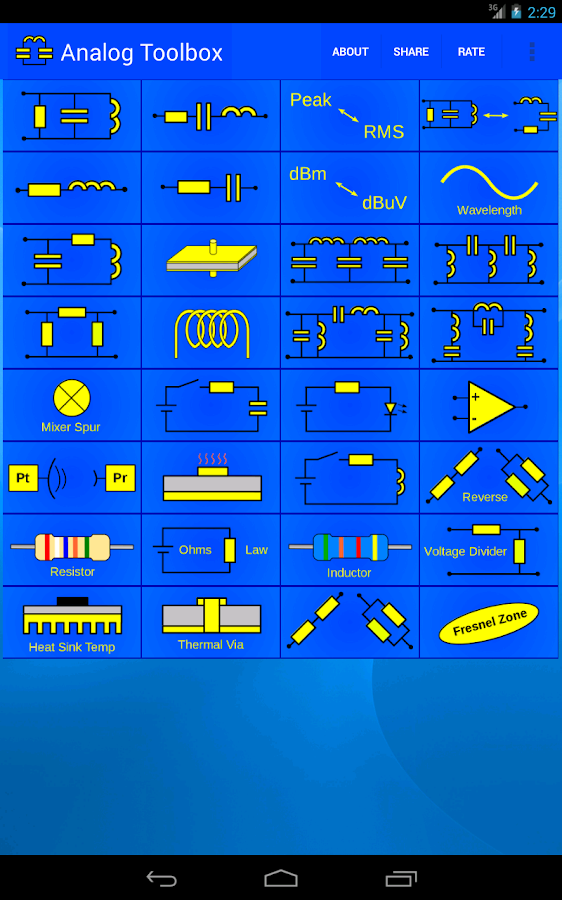 Analog electronics Toolbox - screenshot