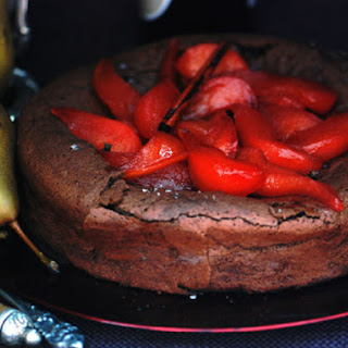 Flourless Chocolate Cake with Spiced Pears