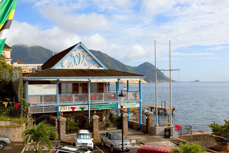 A small shopping center in Roseau, capital and largest city on the island nation of Dominica.