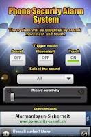 Screenshot of Phone Security Alarm System