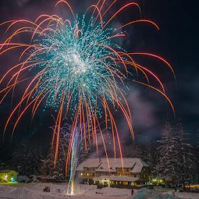 Happy new year! by Veronika Kovacova - Abstract Fire & Fireworks ( new, nature, essex, montana, fireworks, year, night, izaak walton inn, light, glacier national park )