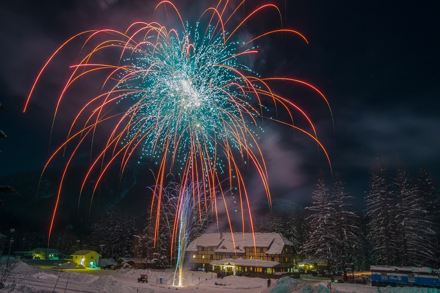 Happy new year! by Veronika Kovacova - Abstract Fire & Fireworks ( new, nature, essex, montana, fireworks, year, night, izaak walton inn, light, glacier national park )