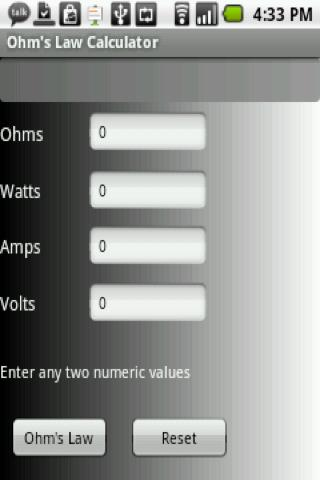 Ohm's Law Calculator- screenshot