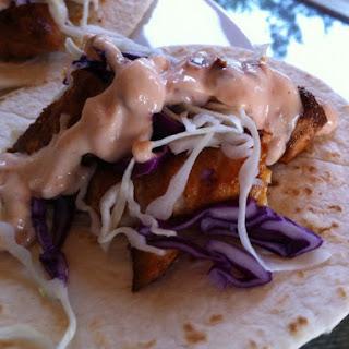 Mahi Mahi Soft Tacos with Chipotle Yogurt Sauce.