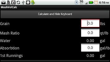 Screenshot of Mash Volume Calc