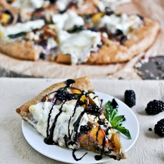Grilled Chicken, Peach, Blackberry + Basil Pizza