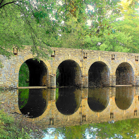 Cumberland Gap State Park by Darlene Neisess - Buildings & Architecture Bridges & Suspended Structures ( water, reflection, peaceful, tennessee, stone, rock, bridge, cumberland gap state park,  )