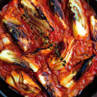 Braised Fennel Wedges With Saffron And Tomato.