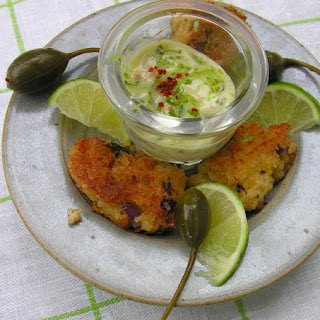 "Tequila Lime ""maioli"" With Golden Panko Crab Cakes."