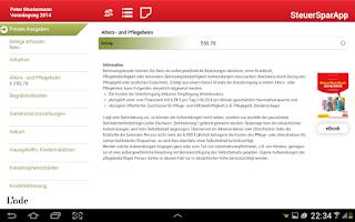 Screenshot of SteuerSparApp