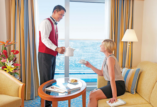 Enjoy a beautiful ocean view and personal service from crew while staying in a balcony stateroom on your Princess cruise.