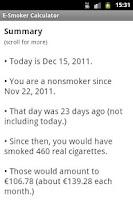 Screenshot of E-Smoker Calculator