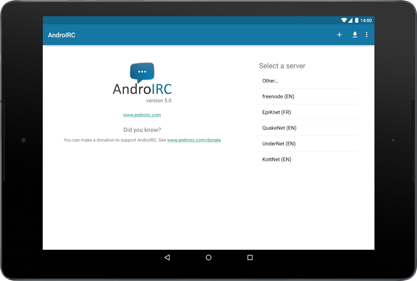AndroIRC - screenshot