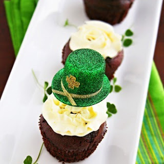Chocolate Stout Cupcakes with Irish Whiskey Frosting.