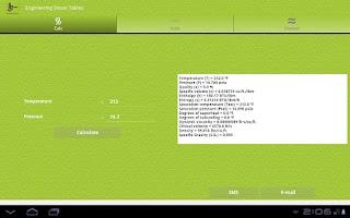 Screenshot of Engineering Steam Tables