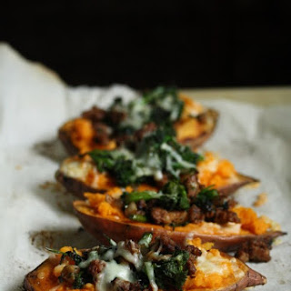 Healthy Baked Sweet Potatoes with Spicy Turkey Sausage and Broccoli Rabe.