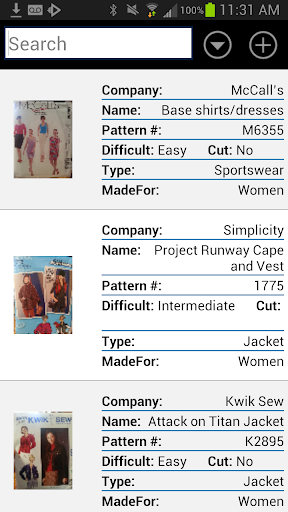 Sewing Pattern catalog