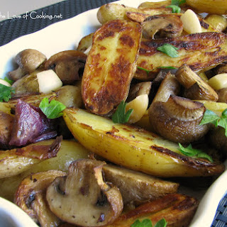 Roasted Fingerling Potatoes, Mushrooms, Red Onions and Garlic