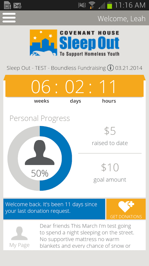 Covenant House Sleep Out - screenshot