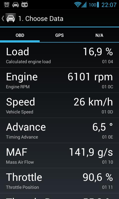 OBD Dashboard- screenshot