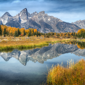 The Grand Tetons from Schwabacher Ponds by Mike Trahan - Landscapes Mountains & Hills ( mountains, schwabacher ponds, nature, grand tetons, landscape, grand teton national park )