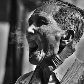 Old Smoker by Priyojit Singh Akoijam - People Portraits of Men (  )
