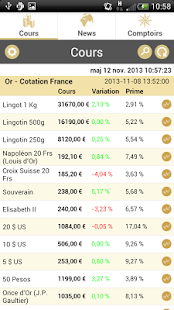 Cours de l'or - gold.fr - screenshot thumbnail