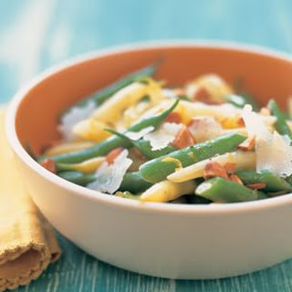 Marinated Summer Beans with Toasted Almonds and Dry Jack Cheese.