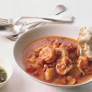 Shrimp and Fingerlings in Tomato Broth.