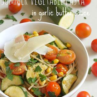 Summer Vegetable Pasta In Garlic Butter Sauce.