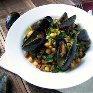 Steamed Mussels w/ Chickpea Chorizo Butter Broth.