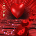 Red Heart On Red Sea Live Wall icon