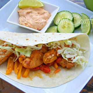 Healthy Baja Fish Tacos with Creamy Chipotle Sauce.