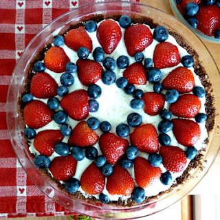 No Bake Berry Cream Cheese Pie with Chocolate Crust