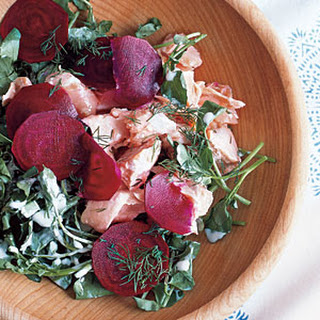 Poached Salmon Salad With Beets