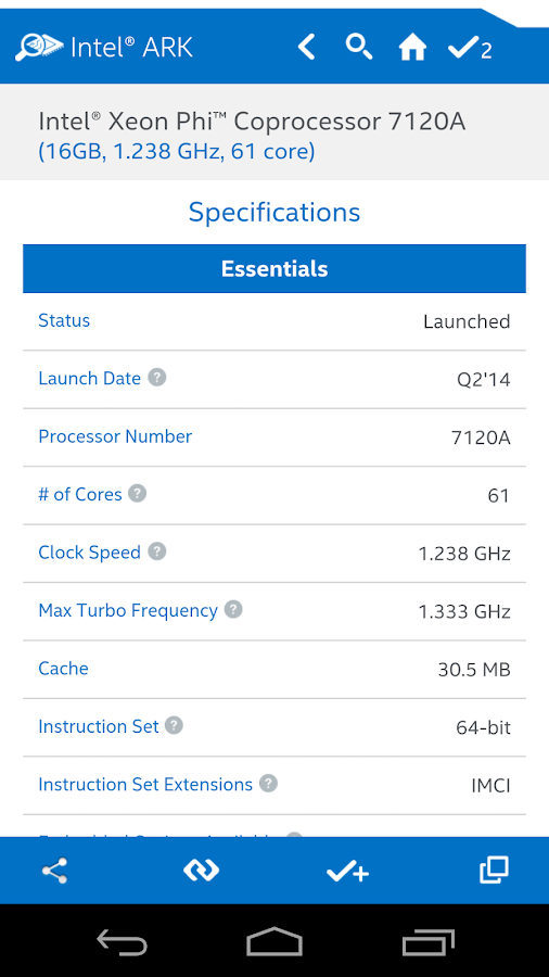 Intel® ARK (Product Specs) - screenshot