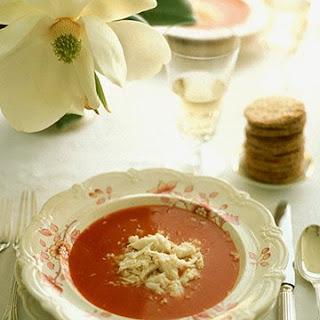 Chilled Bloody Mary Soup with Crabmeat.