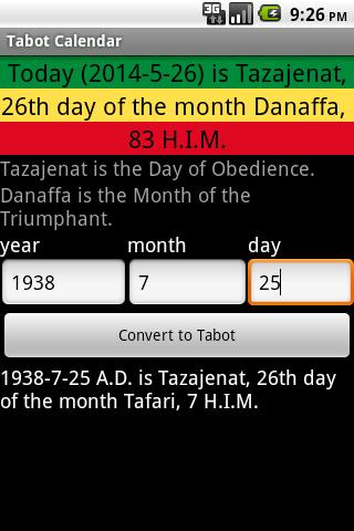 Tabot Calendar